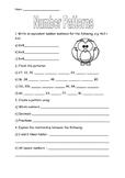 Number Patterns Worksheet