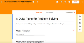 Number Patterns and Functions: Plan for Problem Solving