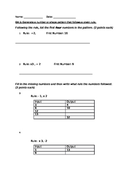Number Patterns and Input Output Machine Worksheet