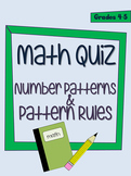 Number Patterns and Pattern Rules Quiz