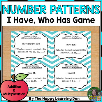 Number Patterns (Addition and Multiplication) I Have, Who Has Game