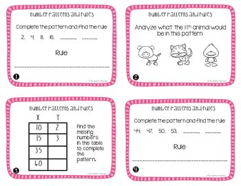 Number Patterns and Rules Task Cards for 4th Grade
