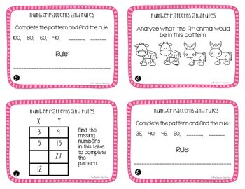 Number Patterns and Rules Task Cards | Number Patterns Math Center