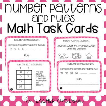 4th Grade Number Patterns and Rules Task Cards | Number Patterns Math Center