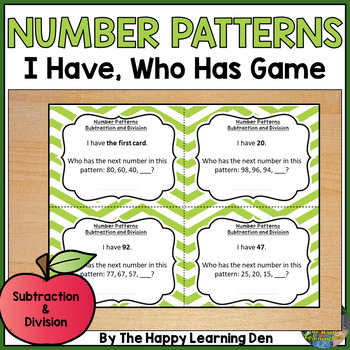 Number Patterns (Subtraction and Division) I Have, Who Has Game