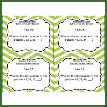 Number Patterns I Have, Who Has Game (Subtraction and Division)