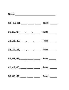 Number Patterns and Sequencing Rules