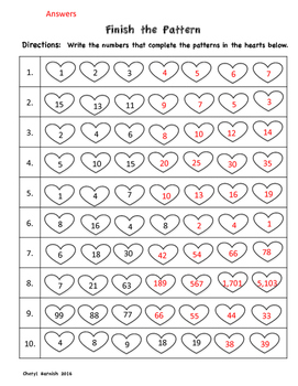 Number Patterns for Valentine's Day