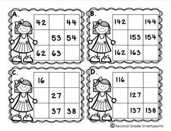 Number Patterns on a Hundreds Chart Task Cards