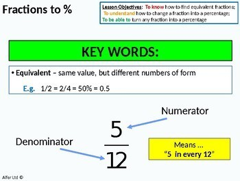 Number: Percentages 1 - Fractions to Percentages (+ Questions)