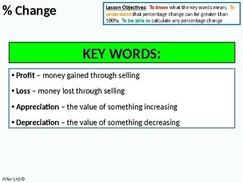 Number: Percentages 5 - Finding a Percentage change (profit & loss) + worksheet