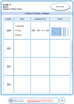 Number & Place Value: Grade 4 Maths Workbook from www.Grade1to6.com Books