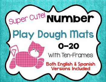 Number Play Dough Mats with Ten Frames Spanish and English