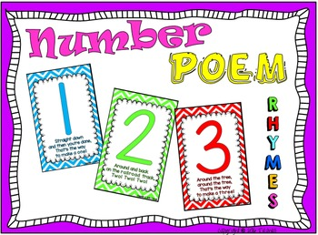 Number Poem Rhyme Chevron Poster Cards