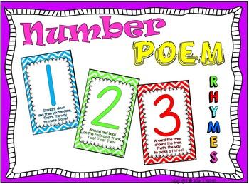 Number Poem Rhyme Chevron Poster Cards