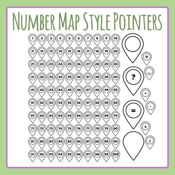 Number Pointers - Map Style for Number Lines Etc Clip Art Commercial Use