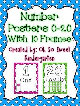 Number Poster 0-20 with 10 Frames Polka Dots