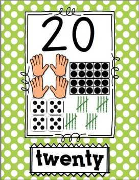Number Poster 1-20 BRIGHT POLKA Dot: tally, dice, ten frame, counting