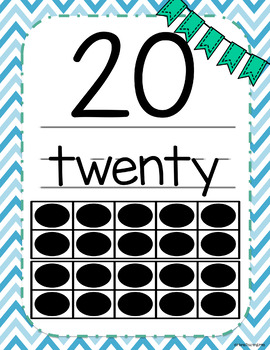 Number Posters 1-20 Blue Chevron