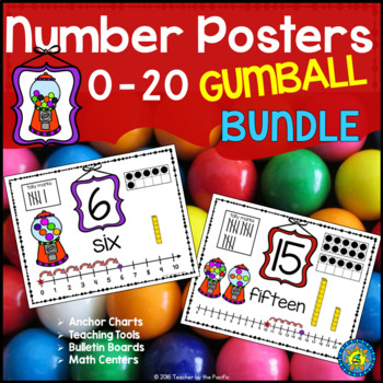 Math - Number Anchor Charts 0-10 + 11-20 {GUMBALLS}