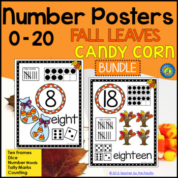 Math Number Anchor Charts 0-10 + 11-20 ~ Fall Leaves + Halloween - Candy Corns