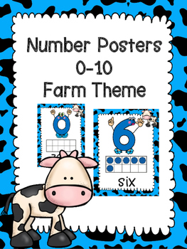 Number Posters 0-10 Farm -Blue