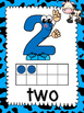 Number Posters 0-10 Farm Theme -Blue