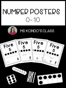 Number Posters, 0-10: Printer-Friendly B&W - Includes 10 frames, base 10, & dice