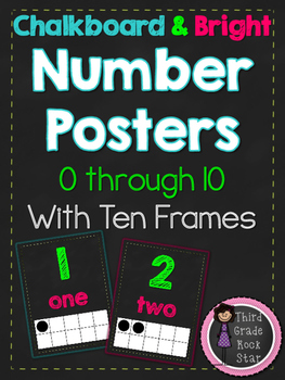 Number Posters (0-10) With Ten Frames {Chalkboard & Bright Theme}
