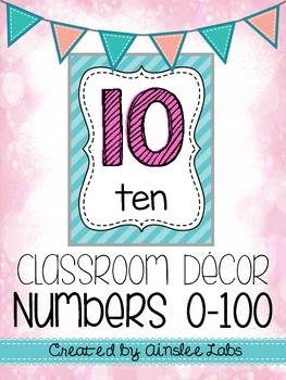 Number Posters 0-100 with words (Classroom Decor)