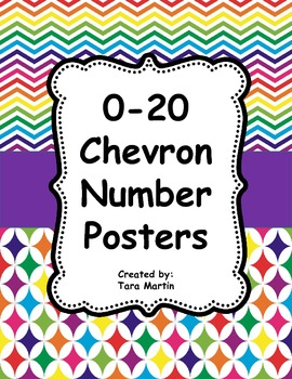 Rainbow Chevron Number Posters 0-20