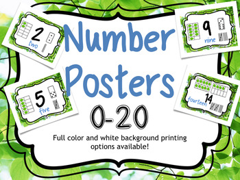 Number Posters 0-20: Two Versions Included