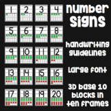 Number Posters - 0-20, Base 10 on Ten Frames, Handwriting