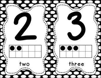 Number Posters 0-20 - Black Polka Dots