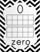 Number Posters 0-20 - Black & White Chevron with Rainbow Counters