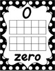Number Posters 0-20 - Black & White Polka Dot - D'Nealian Manuscript