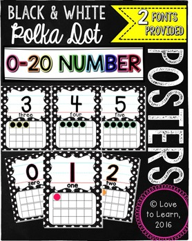 Number Posters 0-20 - Black & White Polka Dot with Rainbow