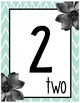 Number Posters 0-20 Black and Mint Chevron