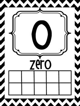 Number Posters 0-20 Black and White Chevron