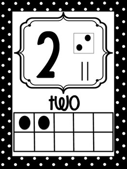 Number Posters 0-20 Black and Yellow Polka Dots