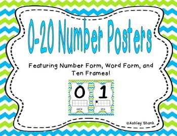 Number Posters 0-20 - Blue & Green Chevron