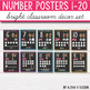 Number Posters 0-20 - Bright Classroom Decor