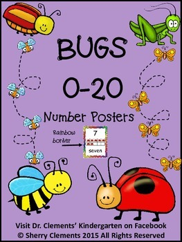 Bugs Number Posters 0-20 (Rainbow Border)