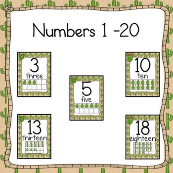 Number Card Posters 0-20 Cactus Desert Theme Number Cards