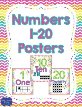 Number Posters 0 to 20 Candy Theme Sweet Theme
