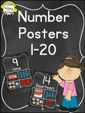 Number Posters 1-20 ~ Chalkboard