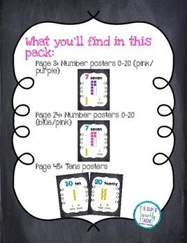 Number Posters 0-20 {Chalkboard} w/ Ten Frame, Base Ten