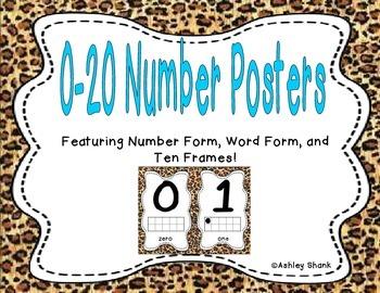 Number Posters 0-20 - Cheetah Print