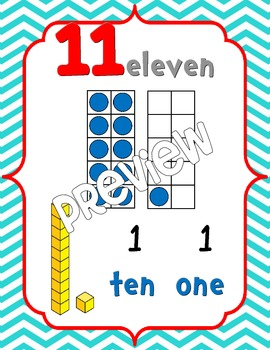 Number Posters 0-20 {Chevron} w/ Ten Frame, Base Ten
