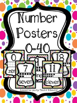 Number Posters 0-40- Colorful/ Whimsical
